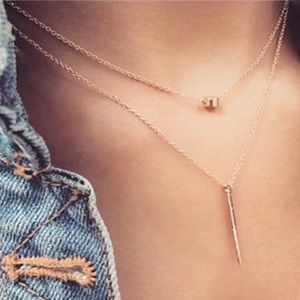 Set of Dainty Gold Tone Drop & Bar Necklace